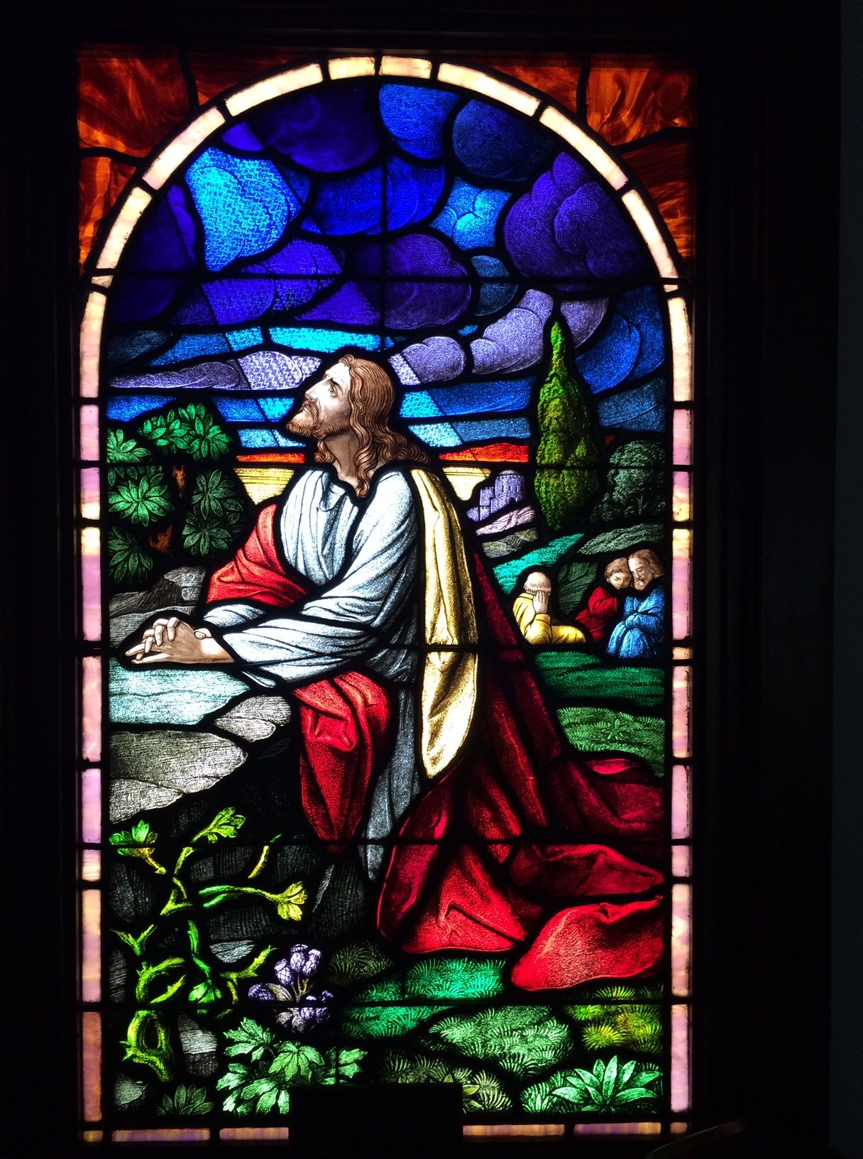 But How Quickly Things Move From Good To Bad Light Dark Our Next Stained Glass Window Tucked Up In The Choir Loft Shows Jesus Praying